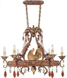 The kitchen will have a Rooster motif. Red and Yellow, with Blue accent decor. This light fixture is awesome!