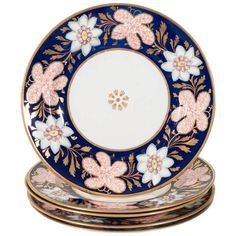 Antique English Dishes, English, early 19th century dishes have wide cobalt blue borders set with white and red flower heads.  | 1stdibs.com