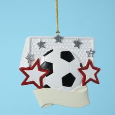 $184.99-$229.99 Club Pack of 24 Soccer Ball Star Christmas Ornaments for Personalization - From the Personalization Collection Item #H2886  Soccer themed ornaments have space for personalizing with a special fan or player's name Ornaments are accented with red and silver glitter Fully dimensional ornaments Ornaments come ready-to-hang on gold cords and can be personalized with paint or a sharpie ...