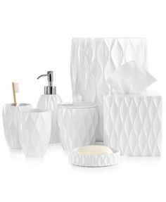 Roselli Trading Company Wave White Bath Accessories Collection