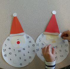 diy, tuto, calendrier de l'avent, père-noël, enfant, maternelle, PS, GS, bricolage, noël