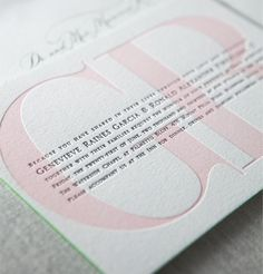 Yountville letterpress wedding invitation by @Lani Erie Press in shell pink and espresso brown with kelly green painted edges
