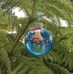 Mermaid Christmas Ornament- Hand painted glass ornament- Beach Holiday Decor- Beach Christmas Ornament- Mermaid Gift- Coastal Christmas by SunStroked on Etsy Beach Christmas Ornaments, Coastal Christmas, Beach Holiday, Christmas Bulbs, Holiday Decor, Mermaid Gifts, Mermaid Art, Hand Painted Ornaments, Glass Ornaments