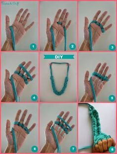 Dreams of Craft: DIY Necklace ♥ trapillo Fabric Necklace, Fabric Jewelry, Diy Necklace, Crochet Necklace, Necklaces, Arm Knitting, Knitting Patterns, Crochet Patterns, Finger Knitting Projects