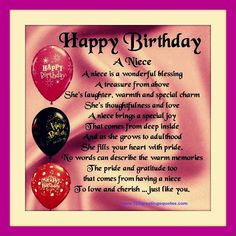 Awesome Happy Birthday Wishes for Niece (B'day Quotes Messages) Wish happy birthday to my gorgeous niece birthday wishes for niece on her birthday wishes for niece poems Niece Birthday Wishes, Birthday Wishes Messages, Birthday Quotes For Daughter, Happy Birthday Funny, Happy Birthday Quotes, Birthday Greetings, Birthday Memes, Birthday Cards, Birthday Sayings