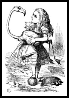 Alice tries to play croquet with a flamingo and a hedge hog. John Tenniel (Alice's Adventures in Wonderland by Lewis Carroll) Alice In Wonderland Flamingo, Alice In Wonderland Original, Alice In Wonderland Book, Adventures In Wonderland, Alice Book, John Tenniel, Lewis Carroll, Tatto Love, Alice In Wonderland Illustrations