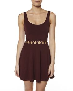SURFSTITCH - WOMENS - DRESSES - CASUAL DRESSES - JORGE GISELLE CUT OUT DRESS - MAROON