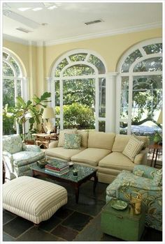 Cheerful sun porch or sunroom, Florida room- love the windows and paint color! Home Theaters, Gazebos, Sunroom Decorating, Decorating Ideas, Home Additions, Home Decor Styles, My Dream Home, Beautiful Homes, Living Spaces