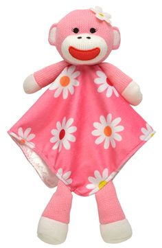 Girl Sock Monkey Snuggle Buddy Security Blanket - Pink $11.95....but, I think I could make this.