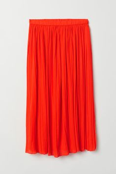 Calf-length, pleated skirt in woven fabric with an elasticized waistband. Lined. Pleated Skirt, Midi Skirt, Orange Skirt, Woven Fabric, Everyday Fashion, Fashion Art, Lady, Skirts, Shopping