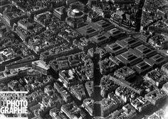 Vue aérienne sur les Halles centrales, vers 1950.