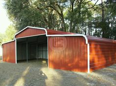 Carport Central understands the importance of providing a safe equestrian building for your lovable horses and therefore provides stylish, reliable and top-quality horse barns. Metal Horse Barns, Metal Barn, 3d Building, Building Structure, Metal Building Prices, Prefab Garages, Steel Carports, Storage Shed Plans, Roof Styles