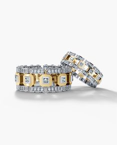 The design of this men's two-tone gold wedding band with diamonds bridges two different styles: contemporary classic and cutting-edge modern. This men's wedding band available in and gold Mens Diamond Wedding Bands, Unique Wedding Bands, Wedding Men, Wedding Rings, Gold Wedding, Matching Wedding Band Sets, Matching Couple Rings, Wedding Matches, Matching Set