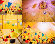 Add a pop of colour inside your tipi with bunting, pom poms and paper lanterns #tipiwedding #tipi Photography by Matt Brown Photography