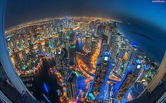 Nocą, Dubaj, Chmur, Drapacze, Miasto