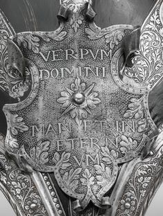 Half-Shaffron (horse's head armor). Culture: German (possibly Brunswick). Medium: Steel, etched and blackened; Inscription: Verbum Domini Manet in Aeternum (The Word Of God Resides In Eternity) Horse Armor, Horse Gear, Arm Armor, Manet, Horse Harness, Battle Dress, Word Of God, Christianity, Renaissance