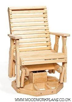 Amish Pine Wood Roll Back Swivel Outdoor Glider Chair Relax in comfort outdoors in this Amish made glider. Outdoor Glider Chair, Swivel Glider Chair, Patio Chair Cushions, Diy Chair, Glider Rockers, Woodworking Square, Woodworking Tools For Sale, Woodworking Shop Layout, Woodworking Plans