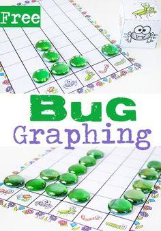 Free Printable Bug Graphing Dice - graphing activity for kids Insect Activities, Graphing Activities, Kindergarten Math Activities, Free Preschool, Preschool Printables, Preschool Learning, Free Printables, Spring Activities, Preschool Ideas