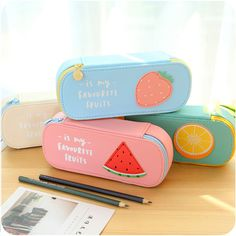 Lovely Cute Fruit Pen Storage Bag Pencil Case Bag Pouch Purse Bag Students Stationary School Supply Makeup Bag Gift
