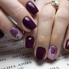 40 Smart Idea For Gel polish nails 2018 Purple Nail Designs, Best Nail Art Designs, Colorful Nail Designs, Purple Nails With Design, Nail Art Flowers Designs, Nail Manicure, Toe Nails, Nail Polish, Gel Pedicure