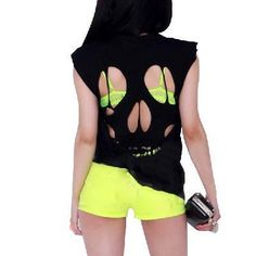 Cut up skull t-shirt #neon