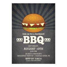Modern Chalkboard Barbecue Party Cards