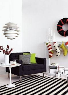 Contemporary   in black and white with accents.