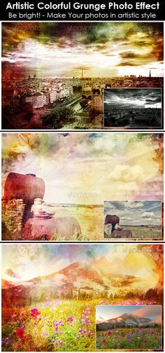 Artistic Colorful Grunge Photo Effect ¨C Included 1 fully layered PSD file with awesome effects. You have to click a smart object a