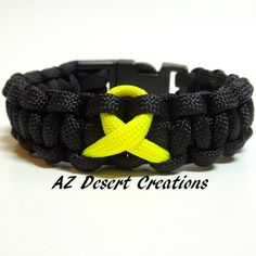 support our troops paracord survival bracelet black with yellow ribbon - Support Our Troops Silicone Bracelet