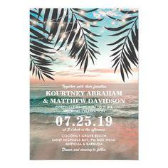 Tropical Beach Wedding   String of Lights Card