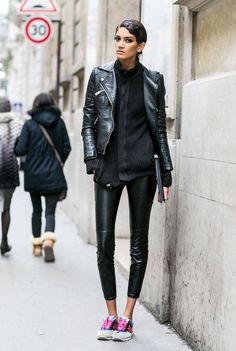 leather clad blackout. fabbo. #offduty in Paris.