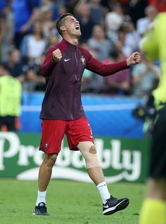 #EURO2016 Cristiano Ronaldo of Portugal celebrates the victory following the UEFA Euro 2016 final match between Portugal and France at Stade de France on July...
