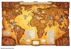 Artist Matt Busch Lucasfilm approved world map that shows off all of the locations that Indiana Jones has made all of his archeological discoveries over the years.