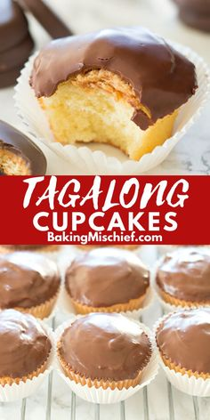 These Tagalong Cupcakes are pound cake covered in peanut butter buttercream and dipped in chocolate. A perfect cupcake version of the Girl Scouts' best cookie. Baking Cupcakes, Yummy Cupcakes, Cupcake Recipes, Baking Recipes, Cookie Recipes, Cupcake Cakes, Dessert Recipes, Best Cupcakes, Party Desserts