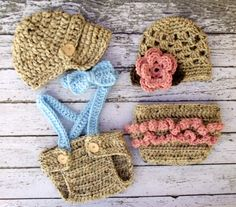 Vintage Twin Photography Prop Set in Oatmeal, Blue, Pink and Taupe Available in 0-3 Month Size- MADE TO ORDER on Etsy, $899.47