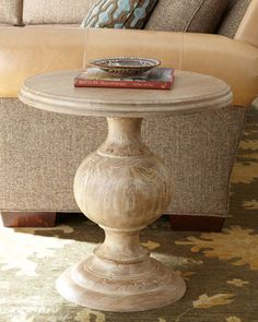 """""""Lucinda"""" Side Table, A diminutive version of the ever-popular round pedestal dining table, this distinctive side table features a natural finish that allows the beauty of the woodgrain to show. Round Pedestal Dining Table, Mirrored Coffee Tables, Wood Pedestal, Pedistal Table, Accent Furniture, Table Furniture, Living Room Furniture, Living Rooms, Rustic Furniture"""