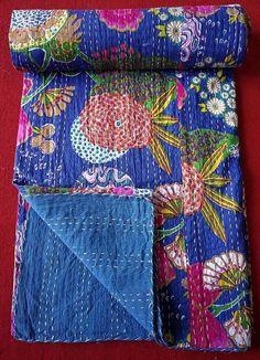 Free Shipping USA  UK !Usd 30 off Exquisite Reversible white Vintage kantha cotton quilt throw sari quilt blanketbedding decor
