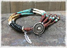 Native American Wrap Bracelet/ Beaded Leather Wrap Bracelet/ Southwestern Wrap Bracelet/ Seed Bead Leather Wrap Bracelet/ Boho Bracelet.