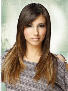 A long sleek brunette hair color and style