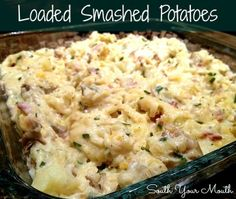 Loaded Smashed Potatoes {bacon, sour cream, garlic and cheese, oh my!}