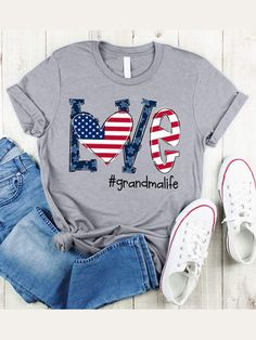 Gray Letter Short Sleeve Shirts & Tops Shirts & Tops, Mom Shirts, Casual T Shirts, Classic T Shirts, Alphabet, Leopard Shirt, Flag Shirt, Shirt Men, Casual Tops For Women