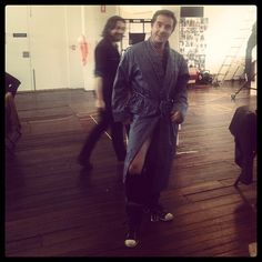Toby Truslove showing some leg at Strange Interlude rehearsals