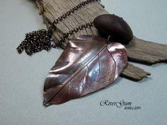 Copper Leaf Necklace, Gumleaf Pendant No 2, Long Copper Necklace, Australiana, RiverGum Jewellery by RiverGumJewellery on Etsy