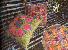crewelwork cushions