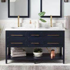 Robertson Mahogany Console Double Vanity for Rectangular Undermount Sinks - Midnight Navy Blue - Bathroom furniture Blue Bathroom Vanity, Navy Blue Bathrooms, Vessel Sink Vanity, Blue Vanity, Double Sink Vanity, Marble Vanity Tops, Bathroom Vanities, White Bathroom, Double Sinks