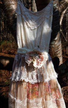 Spring Sale Floral tulle dress wedding roses by vintageopulence