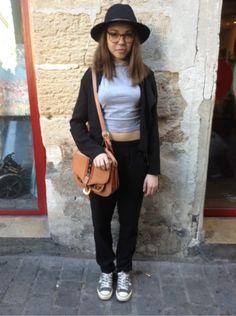 PRIMARK Top, t-shirt, débardeur - # VINTAGE # Sacs, sacoches -  CONVERSE Baskets, sneakers   http://www.moodlook.com/evenement/take-me-out-mars-2014/2014-03-09-france-paris-9