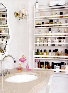 I adore this shelving unit for perfumes and products