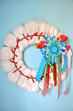 diaper wreath. good for baby showers!