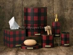 red plaid decorations | lodge and cabin accessories red plaid cabin lodge decor